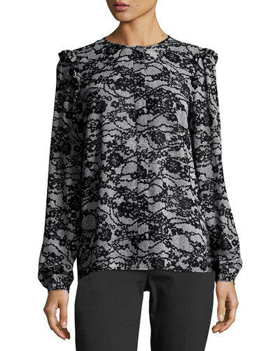 MICHAEL Michael Kors Long-Sleeve Ruffled Delicate Lace-Print Top