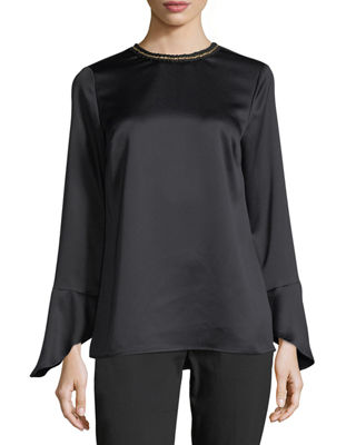 MICHAEL Michael Kors Long-Sleeve Embellished Satin Blouse