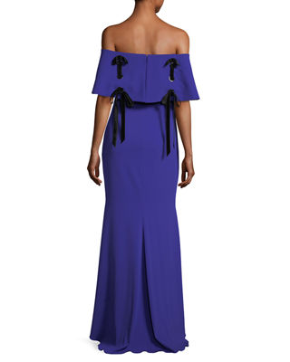 Badgley Mischka Off-the-Shoulder Crepe Evening Gown w/ Velvet