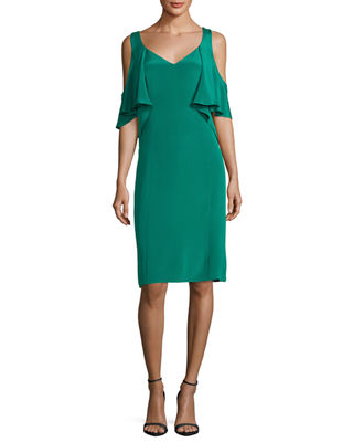 Kobi Halperin Sariya Open-Shoulder Silk Cocktail Dress w/