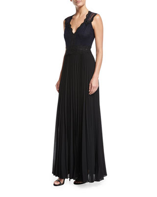 Dion Sleeveless Lace Beaded Evening Gown w/ Pleated Skirt