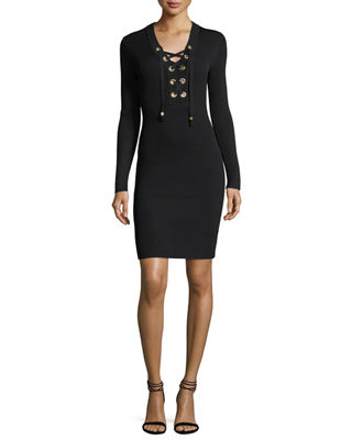 MICHAEL Michael Kors Lace-Up Ribbed Sweater Dress