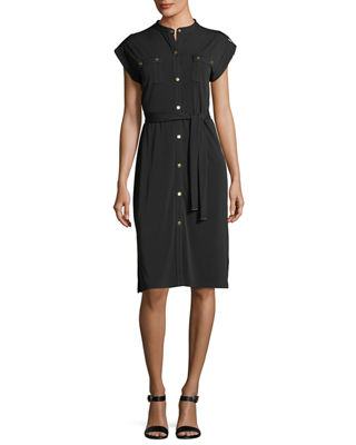 Short-Sleeve Snap-Front Shirtdress