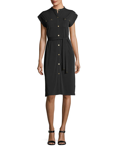 MICHAEL Michael Kors Short-Sleeve Snap-Front Shirtdress
