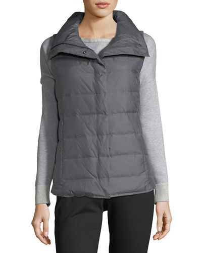 Eileen Fisher Melange Quilted Vest, Plus Size