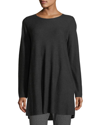 Eileen Fisher Easy Jewel-Neck Organic Cotton-Blend Tunic and