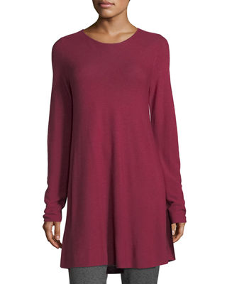 Eileen Fisher Easy Jewel-Neck Organic Cotton-Blend Tunic, Plus