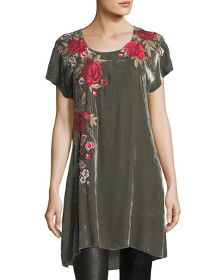 Meri Velvet Embroidered Tunic, Plus Size