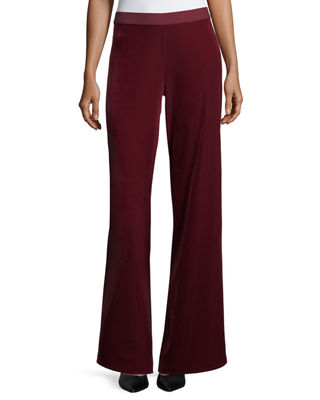 Image 1 of 3: Velvet Wide-Leg Pants