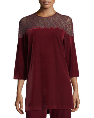 Joan Vass Velvet Tunic w/ Lace Yoke