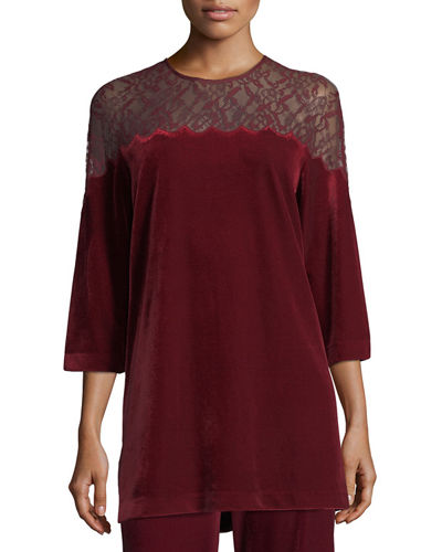 Velvet Tunic w/ Lace Yoke, Plus Size