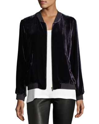 Johnny Was Aurelia Velvet Bomber Jacket, Plus Size