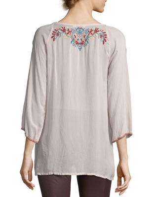 Image 2 of 2: Dolora Embroidered Georgette Blouse, Plus Size