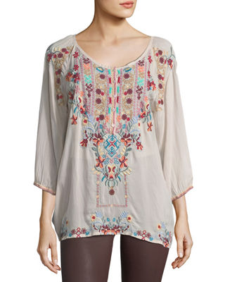 Johnny Was Dolora Embroidered Georgette Blouse
