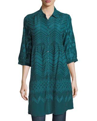 Johnny Was Ziggy Button-Front Tunic, Plus Size