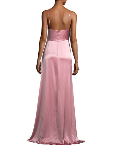 Sleeveless Satin Slip Gown