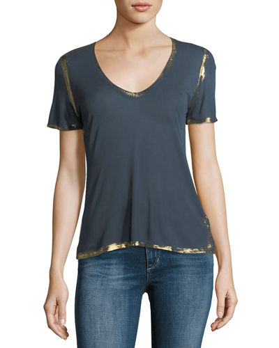 Tino Golden Foil V-Neck Short-Sleeve Tee