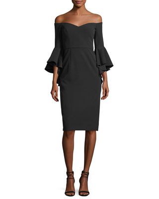 Milly Italian Cady Selena Off-the-Shoulder Flutter-Sleeve