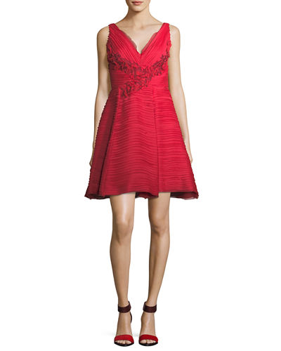 Marchesa Notte Sleeveless V-Neck Crinkled Chiffon Cocktail Dress