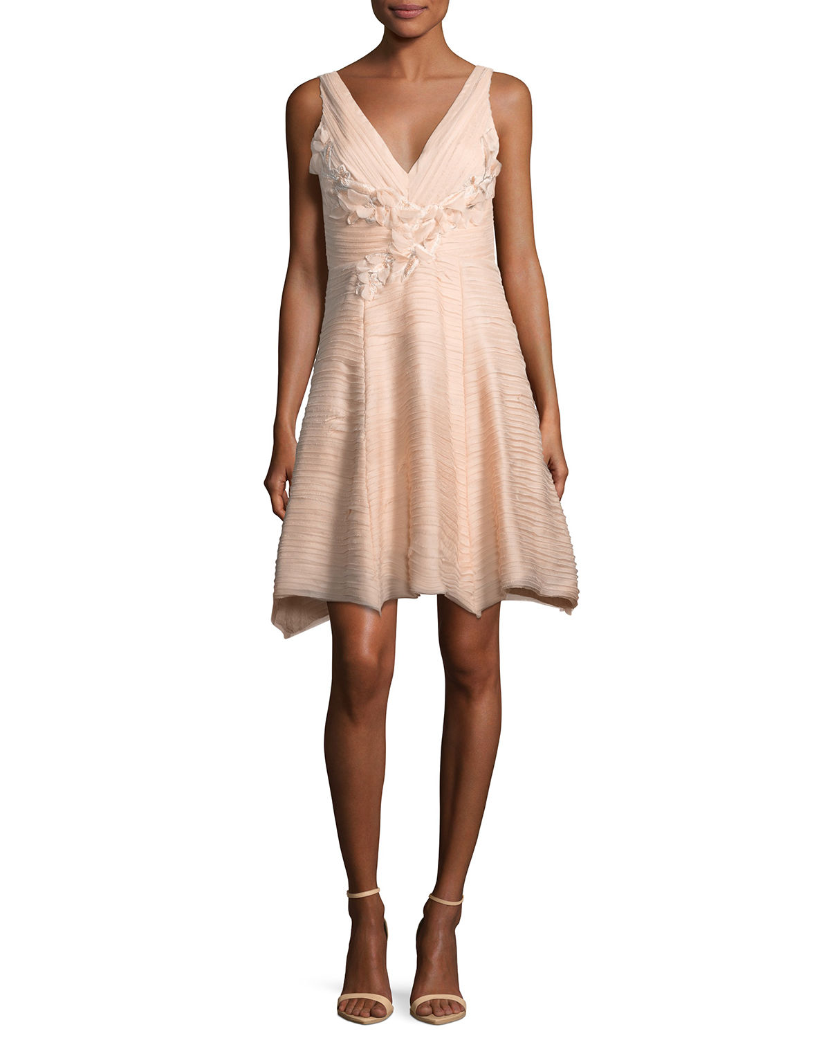 Sleeveless V-Neck Crinkled Chiffon Cocktail Dress