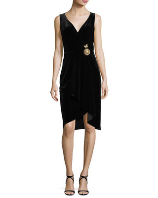 Kobi Halperin Kailey Surplice Sleeveless Velvet Cocktail Dress