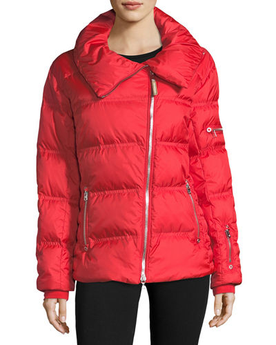 Emma Asymmetric-Zip Quilted Puffer Coat
