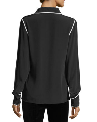 Long-Sleeve Button-Front Collared Silk Blouse