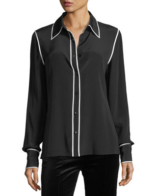 Diane von Furstenberg Long-Sleeve Button-Front Collared Silk