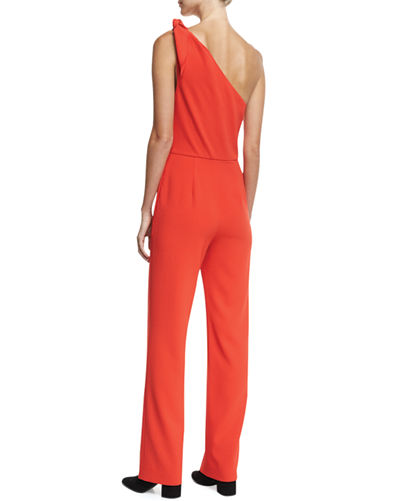 One-Shoulder Knot Sleeveless Straight-Leg Crepe Jumpsuit