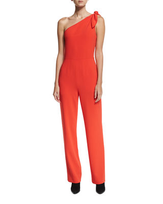 Diane von Furstenberg One-Shoulder Knot Sleeveless Straight-Leg