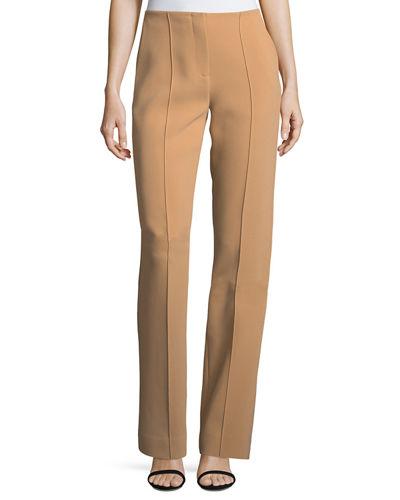 Diane von Furstenberg Pleated-Front Wide-Leg Crepe Pants and