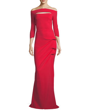be77358ea2 Chiara Boni La Petite Robe Kate Long-Sleeve Gathered Trumpet Evening Gown