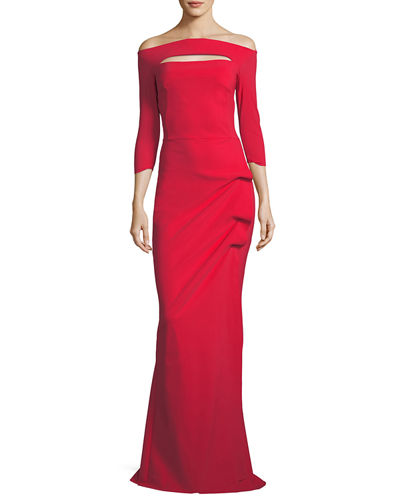 Kate Long-Sleeve Gathered Trumpet Evening Gown