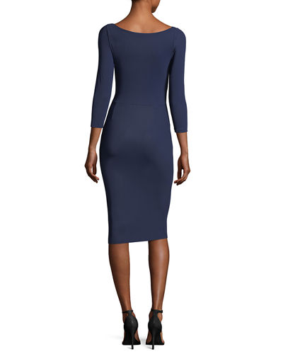 Marem 3/4-Sleeve Ruffled Jersey Cocktail Dress