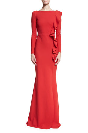 Chiara Boni La Petite Robe Dilia Boat-Neck Trumpet Evening Gown w/ Ruffled Trim