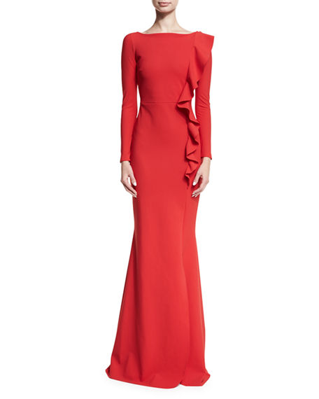 Image 1 of 3: Chiara Boni La Petite Robe Dilia Boat-Neck Trumpet Evening Gown w/ Ruffled Trim