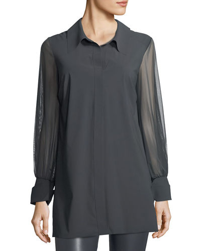 Cesarina Semisheer Long-Sleeve Illusion Jersey Blouse