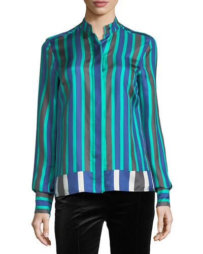 Diane von Furstenberg Long-Sleeve Striped Cuffed Button-Down