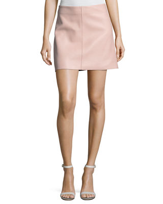 Diane von Furstenberg Jenny Lamb Leather Mini Skirt