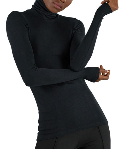 ATM Anthony Thomas Melillo Modal Rib-Knit Long-Sleeve Turtleneck Top