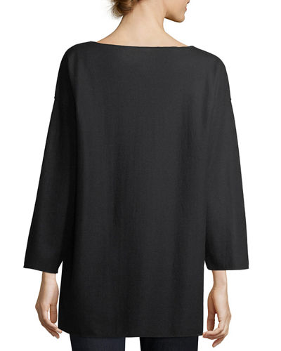 Bateau-Neck Boiled Wool Jersey Top