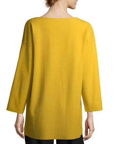 Bateau-Neck Boiled Wool Jersey Top, Petite