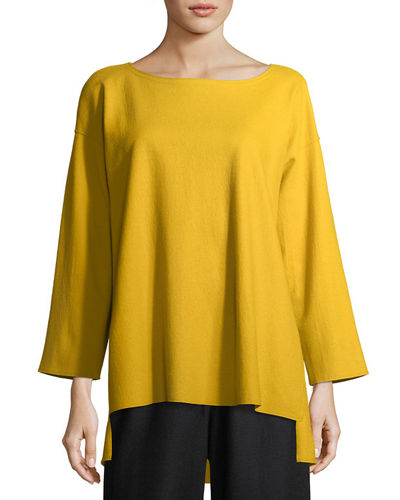Eileen Fisher Bateau-Neck Boiled Wool Jersey Top, Petite