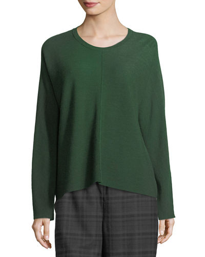 Eileen Fisher Fine Merino Links Boxy Pullover and