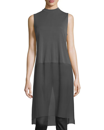 Sleeveless Mock-Neck Stretch Silk Jersey Tunic, Petite