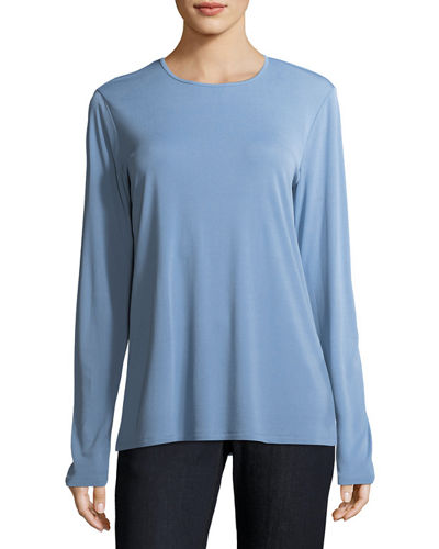 Eileen Fisher Crewneck Stretch Silk Jersey Top and
