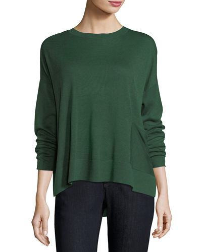 Eileen Fisher Sleek Tencel®/Wool Box Top w/ Patch