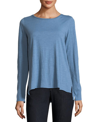 Eileen Fisher Long-Sleeve Slubby Organic Cotton Jersey Tee