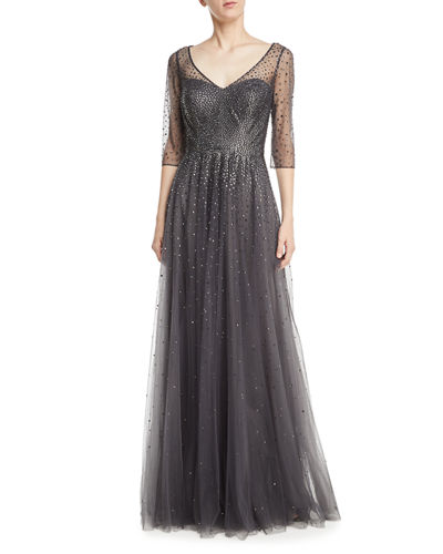 La Femme 3/4-Sleeve Illusion Mesh Embellished Evening Gown