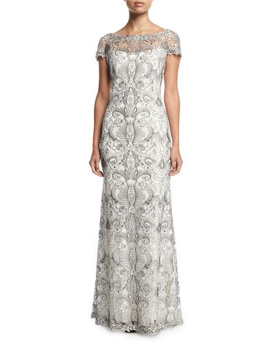 Short-Sleeve Lace Column Gown